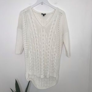 Express | Loose Knit White Cable Tunic Sweater